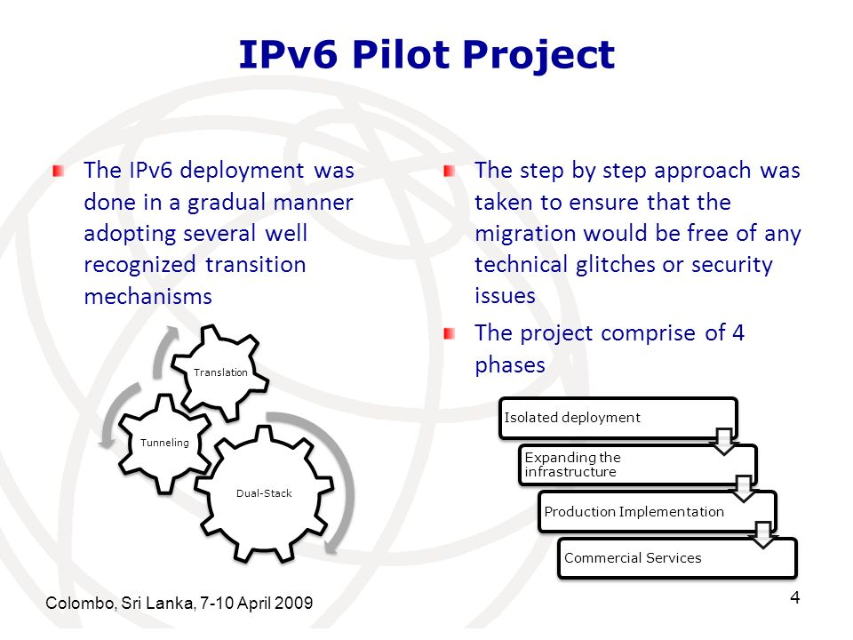 IPv6 Pilot Project The IPv6 deployment was done in a gradual manner adopting several well recognized transition mechanisms.