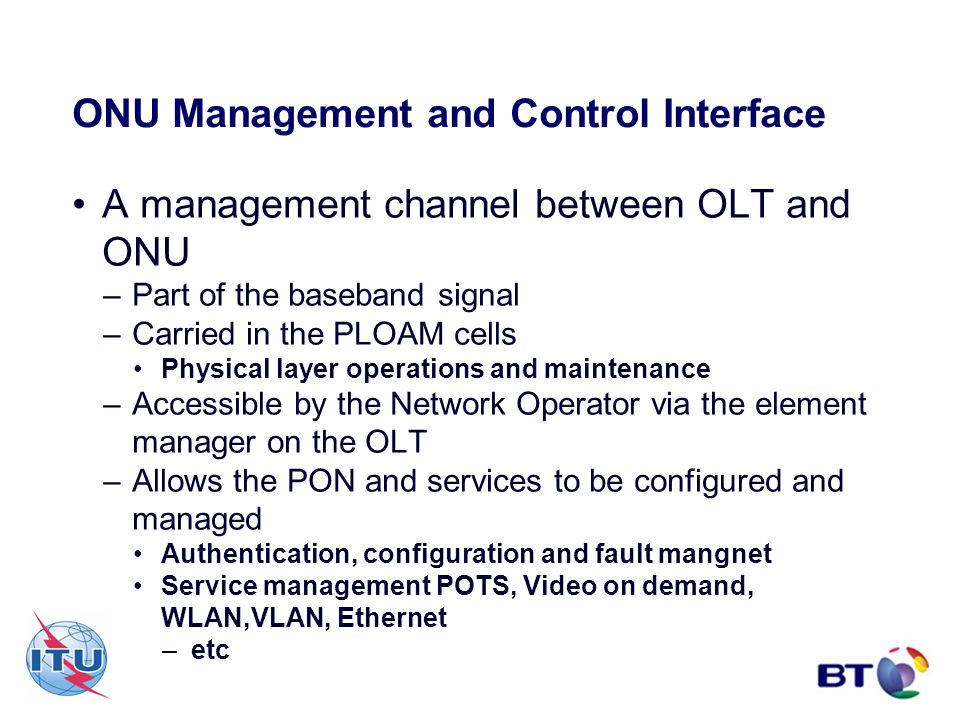 ONU Management and Control Interface