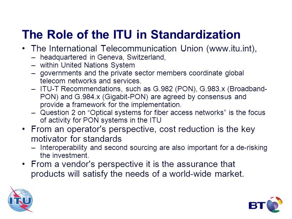 The Role of the ITU in Standardization