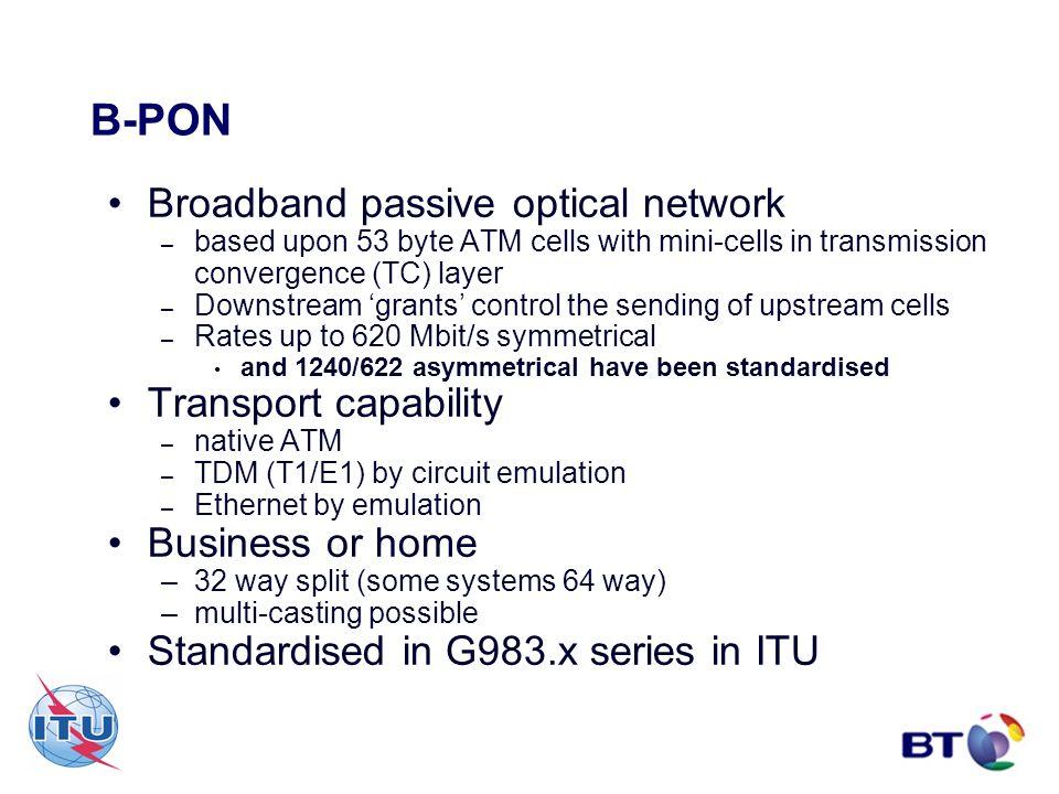 B-PON Broadband passive optical network Transport capability