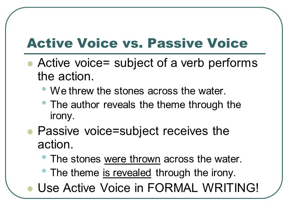 active and passive devices essay Using the 'active voice' in grammar means the subject of your sentence performs the action of the verb in this lesson, we'll learn the difference between active and passive voice and how using the active voice can make your writing better.