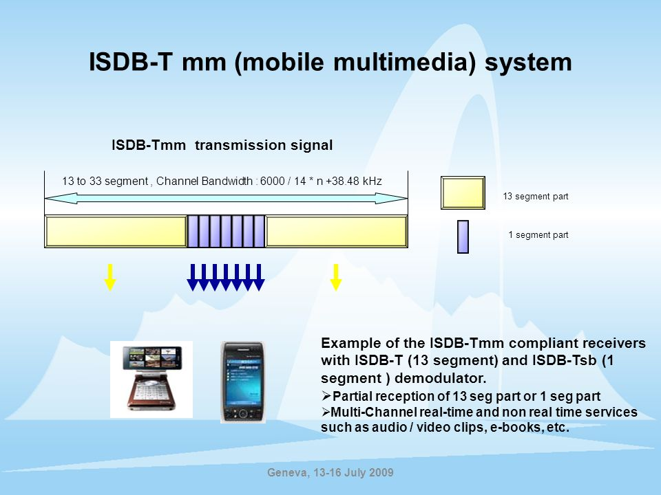 ISDB-T mm (mobile multimedia) system