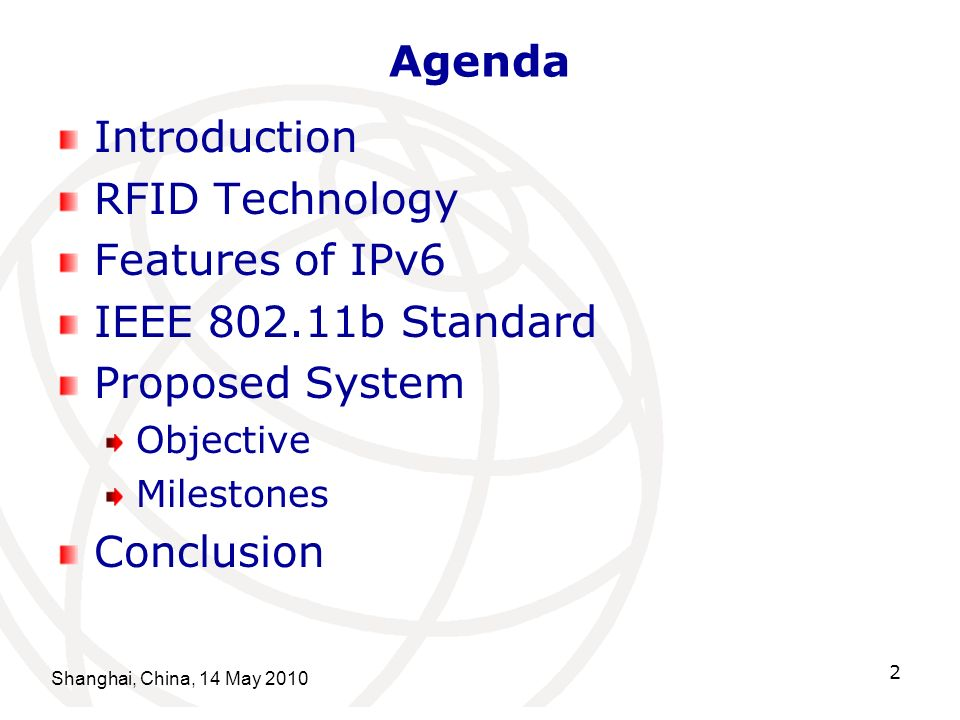 Agenda Introduction RFID Technology Features of IPv6