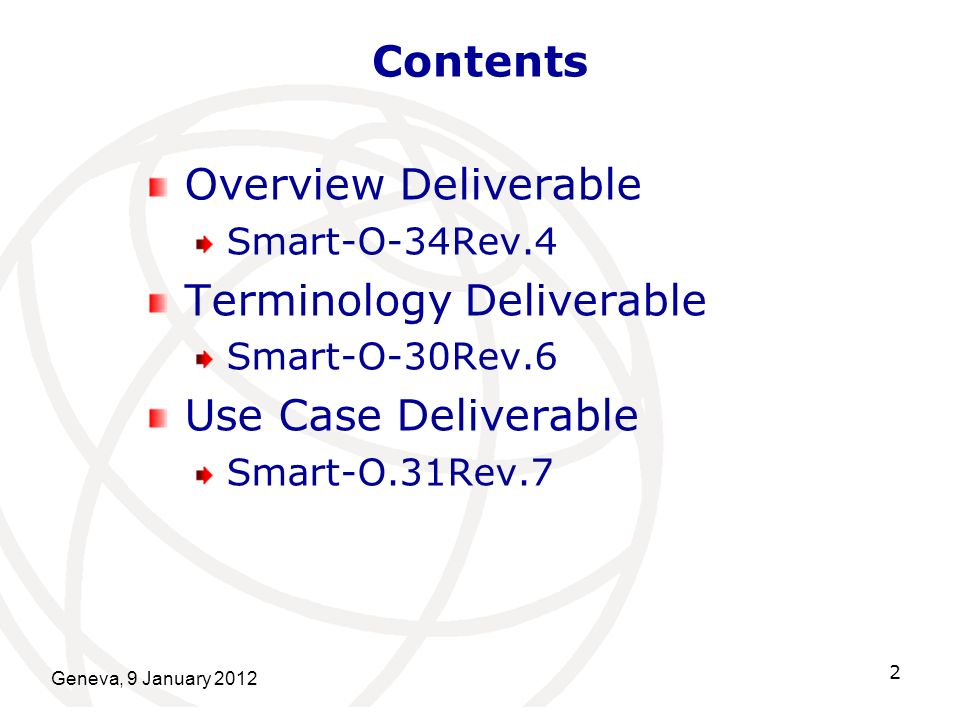 Terminology Deliverable Use Case Deliverable