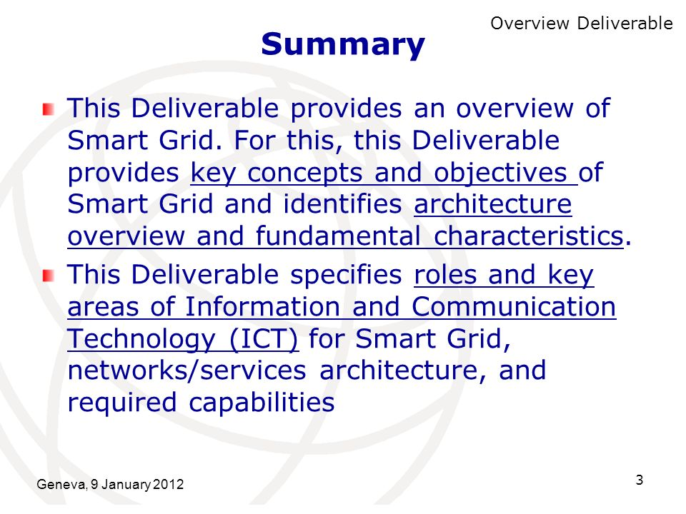 Summary Overview Deliverable.