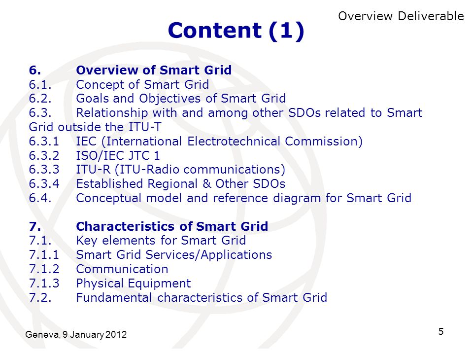 Content (1) Overview Deliverable 6. Overview of Smart Grid