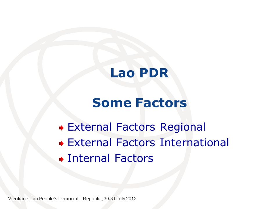 Lao PDR Some Factors External Factors Regional