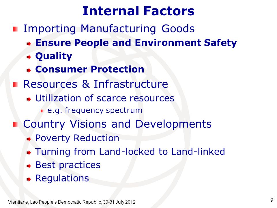 Internal Factors Importing Manufacturing Goods