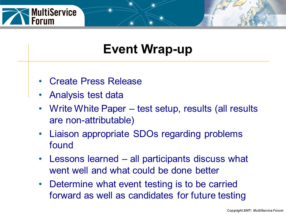 Event Wrap-up Create Press Release Analysis test data