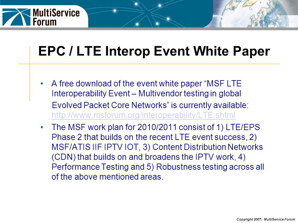 EPC / LTE Interop Event White Paper