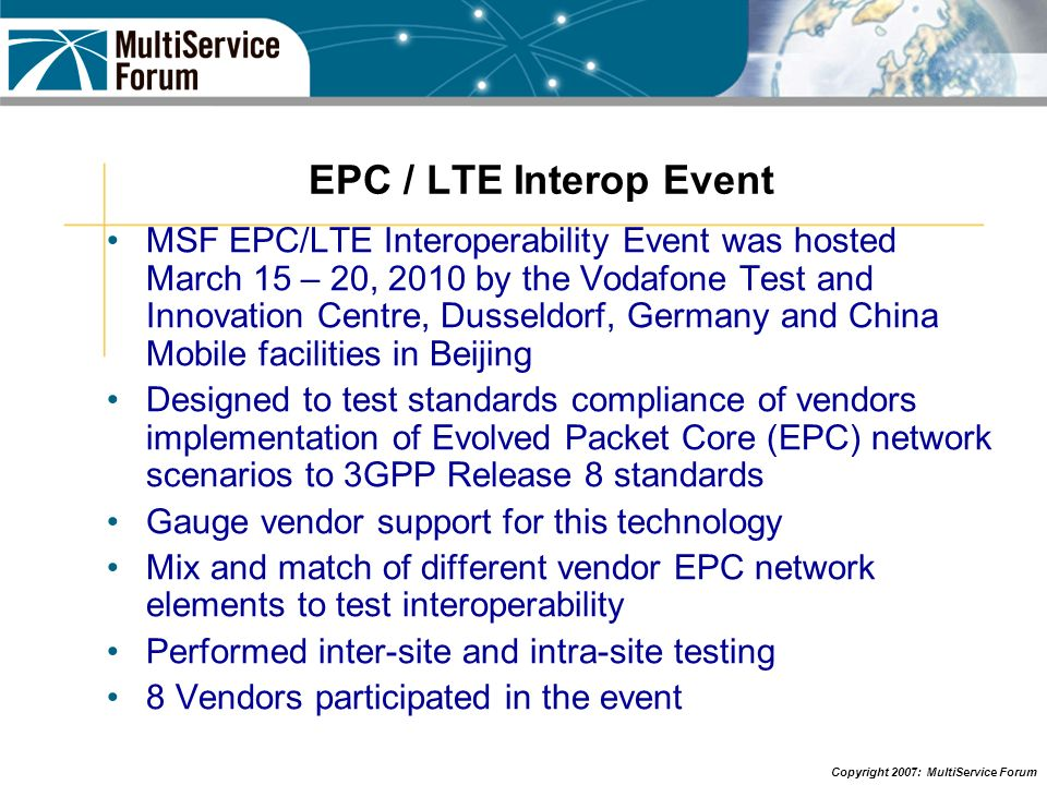EPC / LTE Interop Event