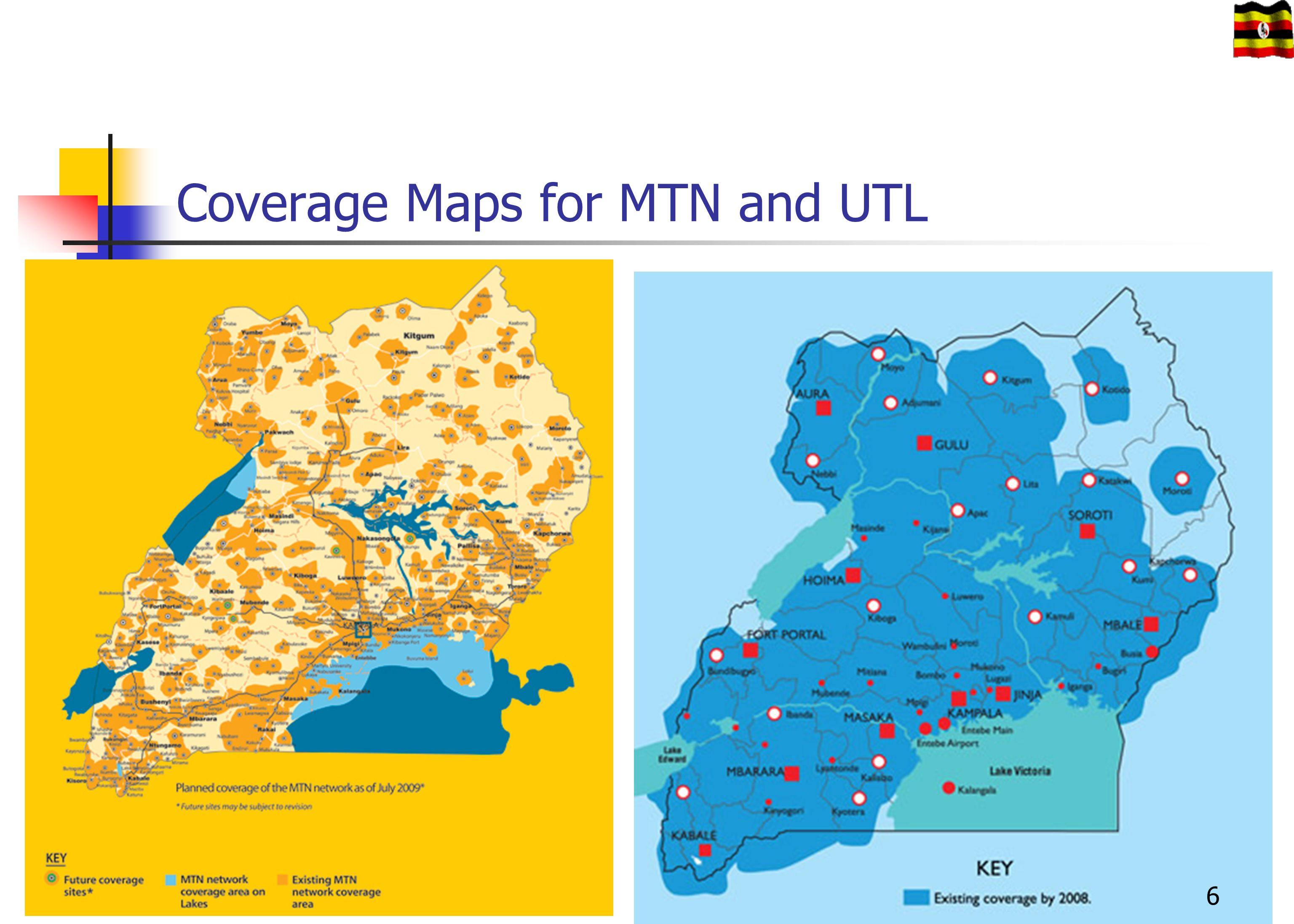 Coverage Maps for MTN and UTL