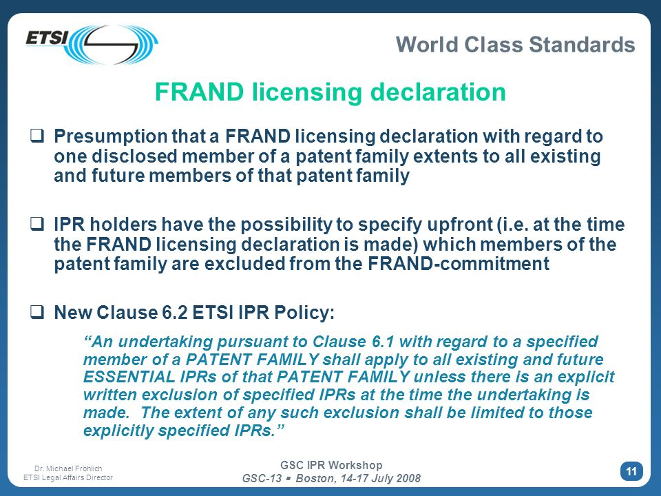 FRAND licensing declaration