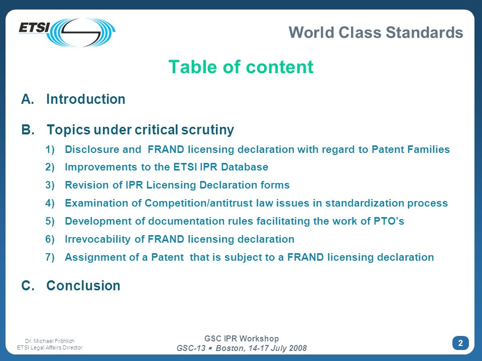 Table of content Introduction Topics under critical scrutiny