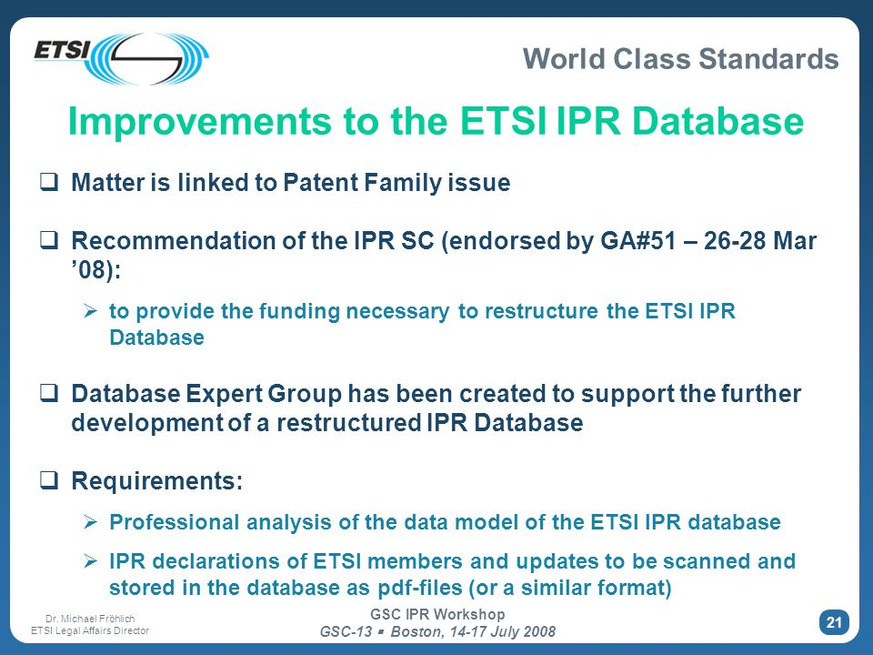 Improvements to the ETSI IPR Database