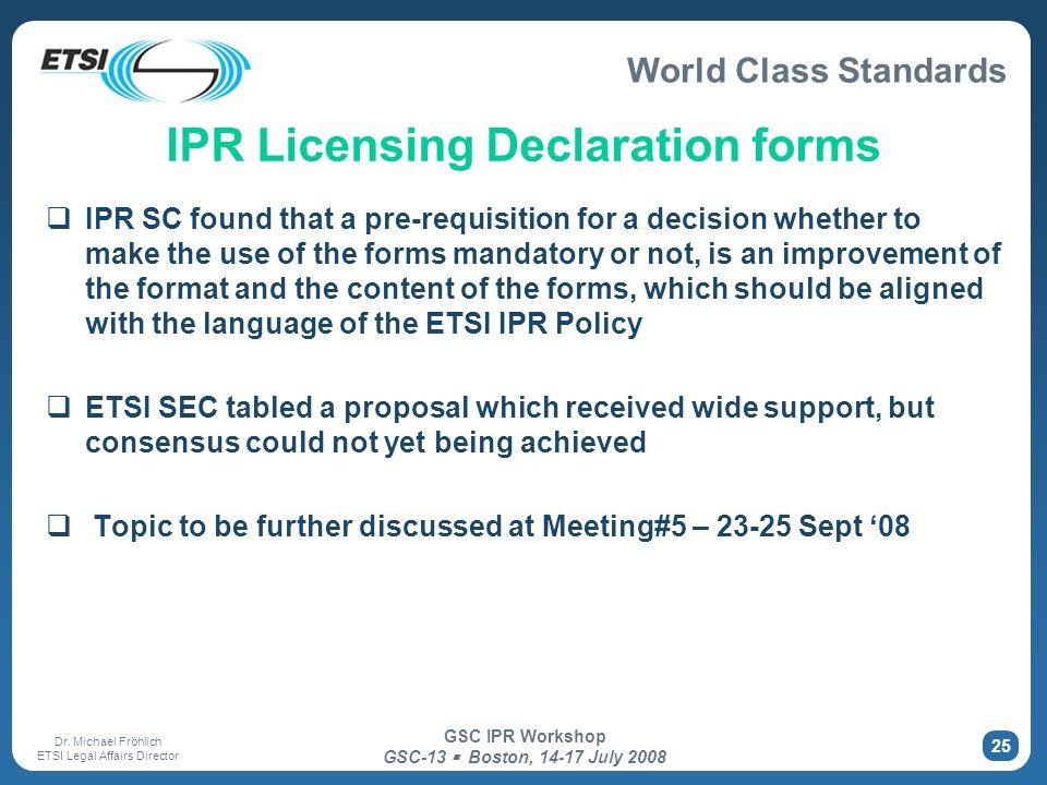 IPR Licensing Declaration forms