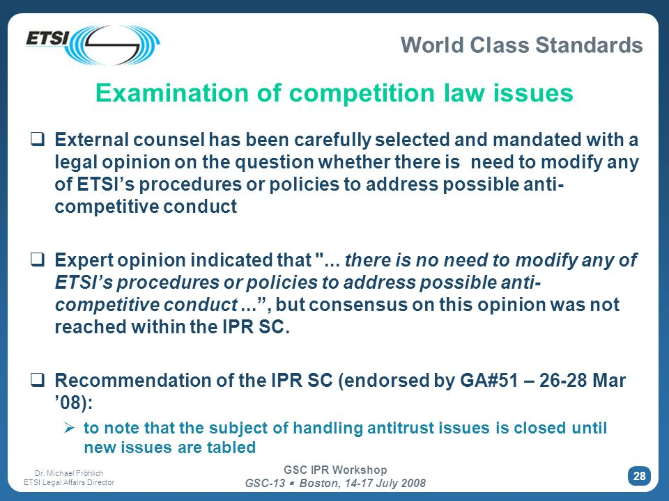Examination of competition law issues