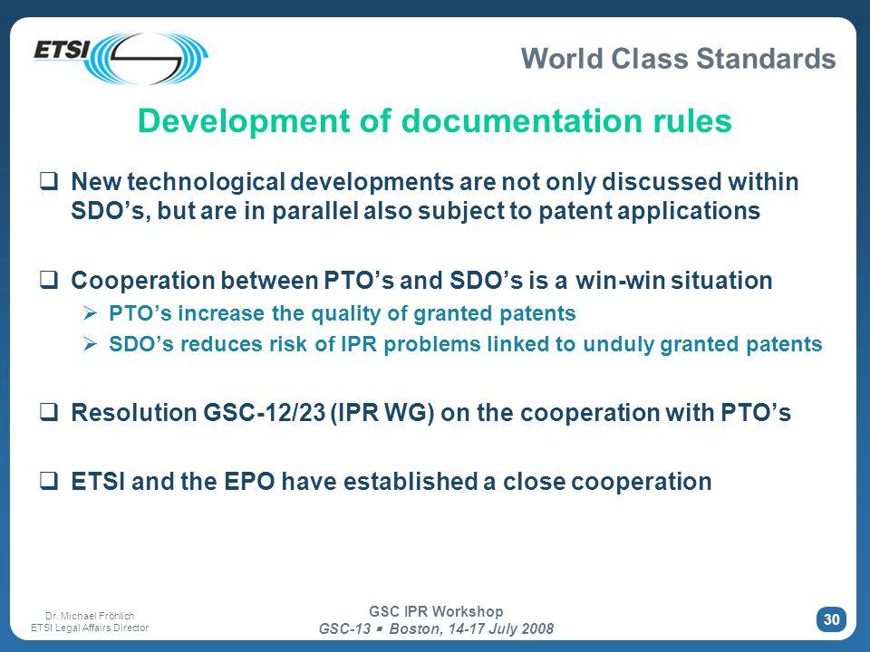 Development of documentation rules