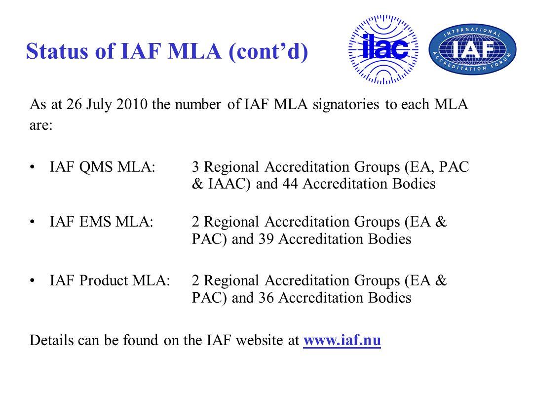 Status of IAF MLA (cont'd)