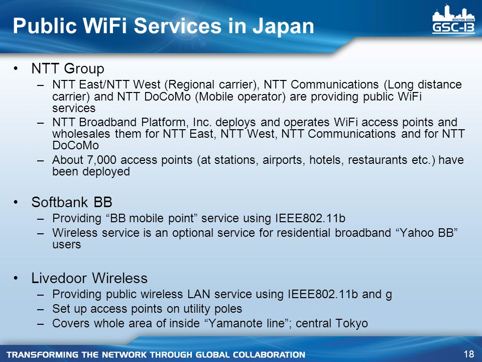 Public WiFi Services in Japan