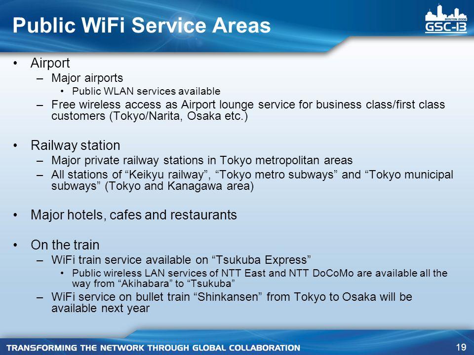 Public WiFi Service Areas