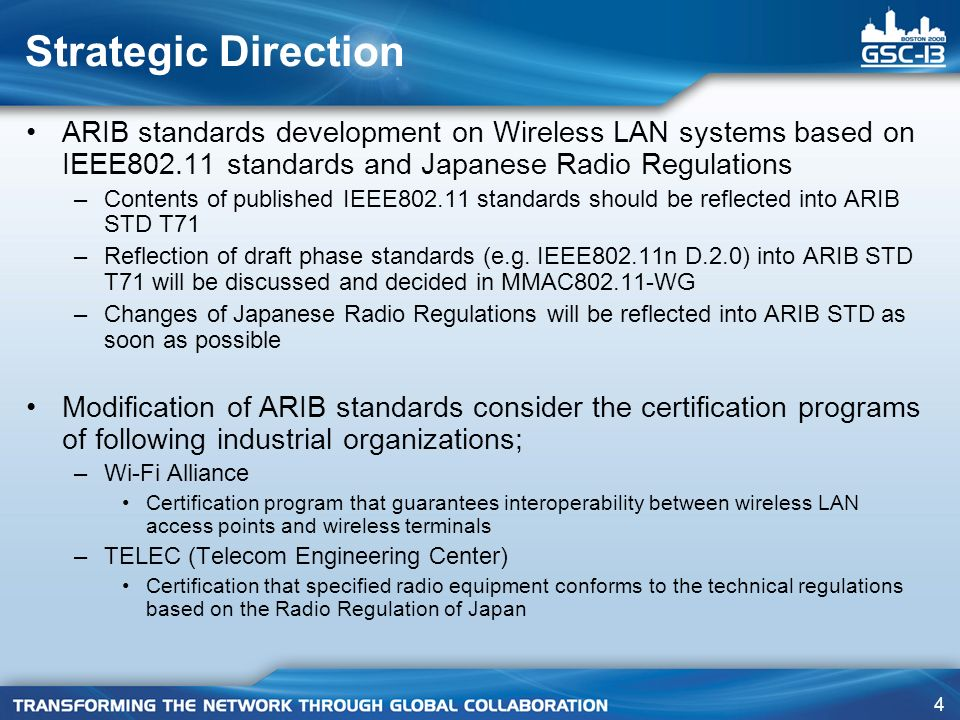 Strategic Direction ARIB standards development on Wireless LAN systems based on IEEE802.11 standards and Japanese Radio Regulations.