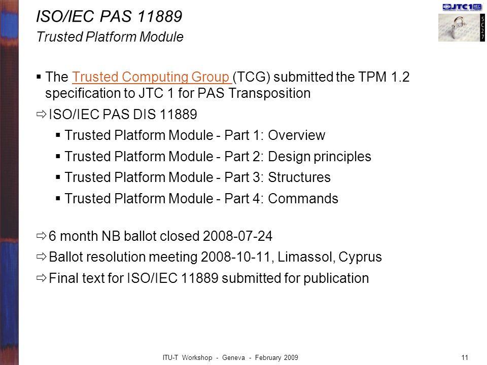 ISO/IEC PAS 11889 Trusted Platform Module