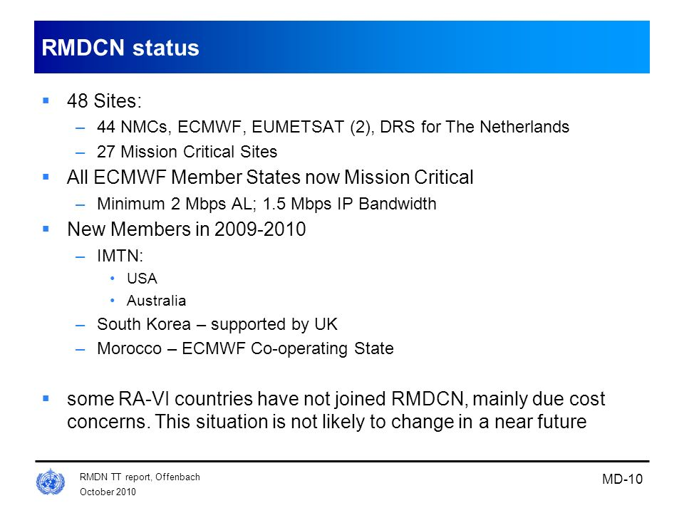 RMDCN status 48 Sites: All ECMWF Member States now Mission Critical
