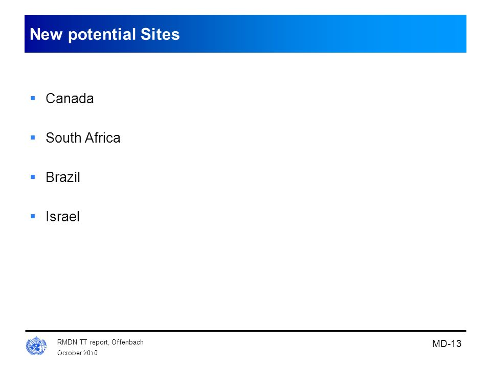 New potential Sites Canada South Africa Brazil Israel