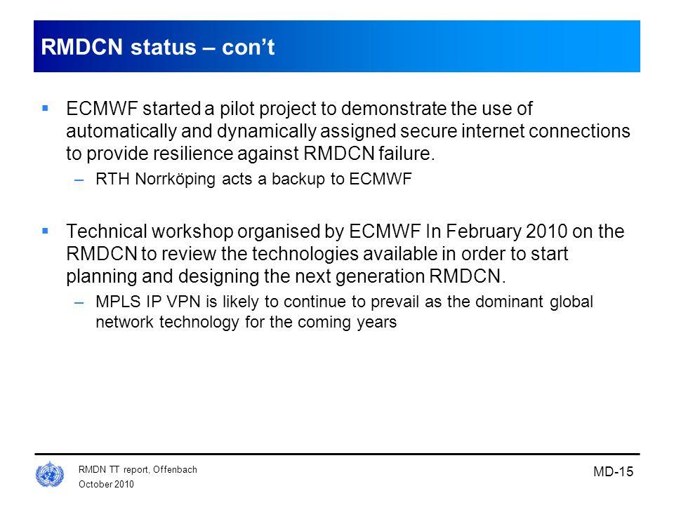 RMDCN status – con't