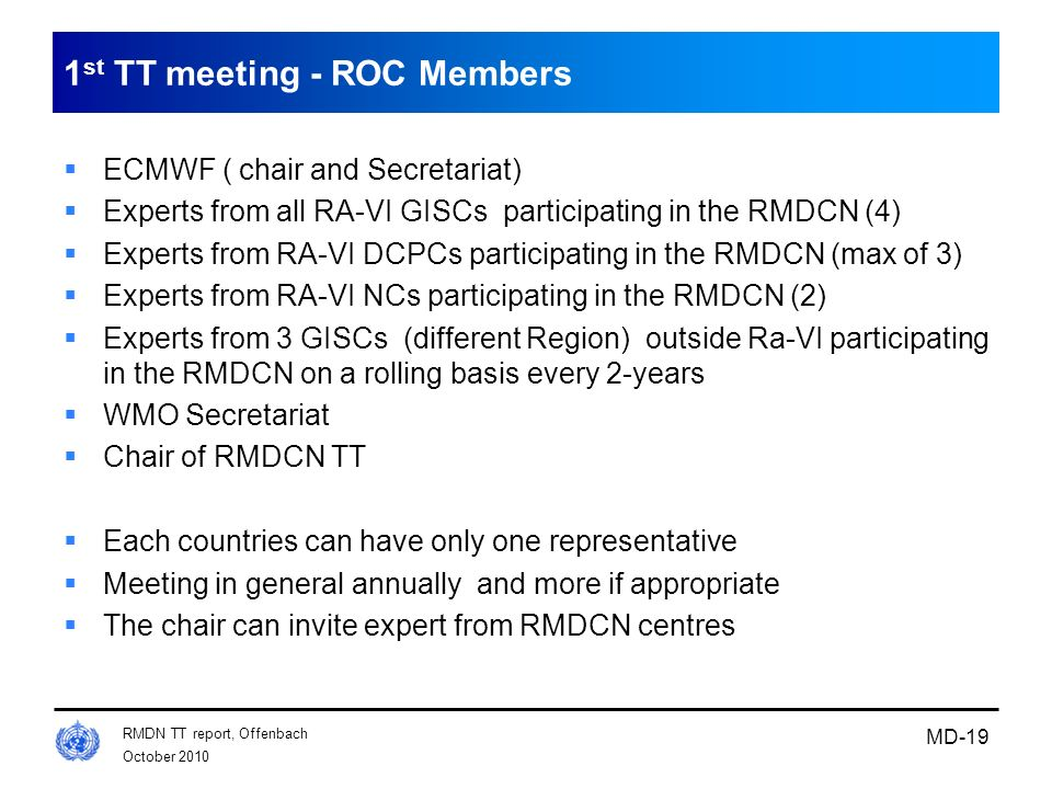 1st TT meeting - ROC Members