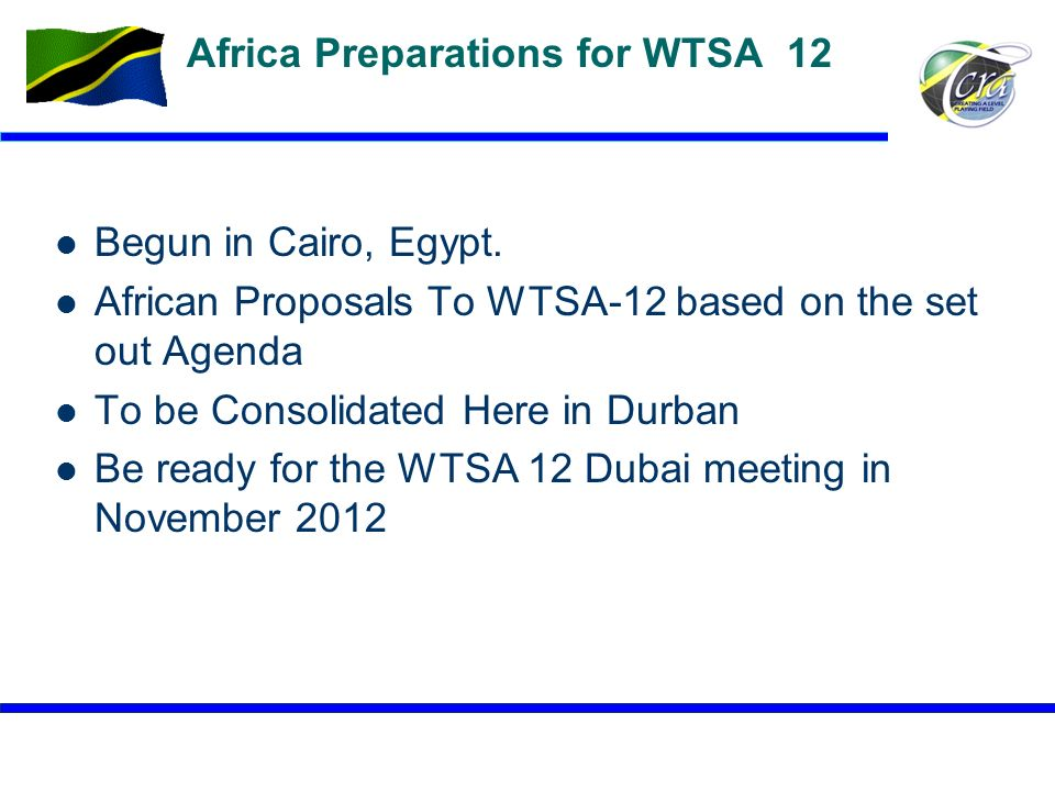 Africa Preparations for WTSA 12