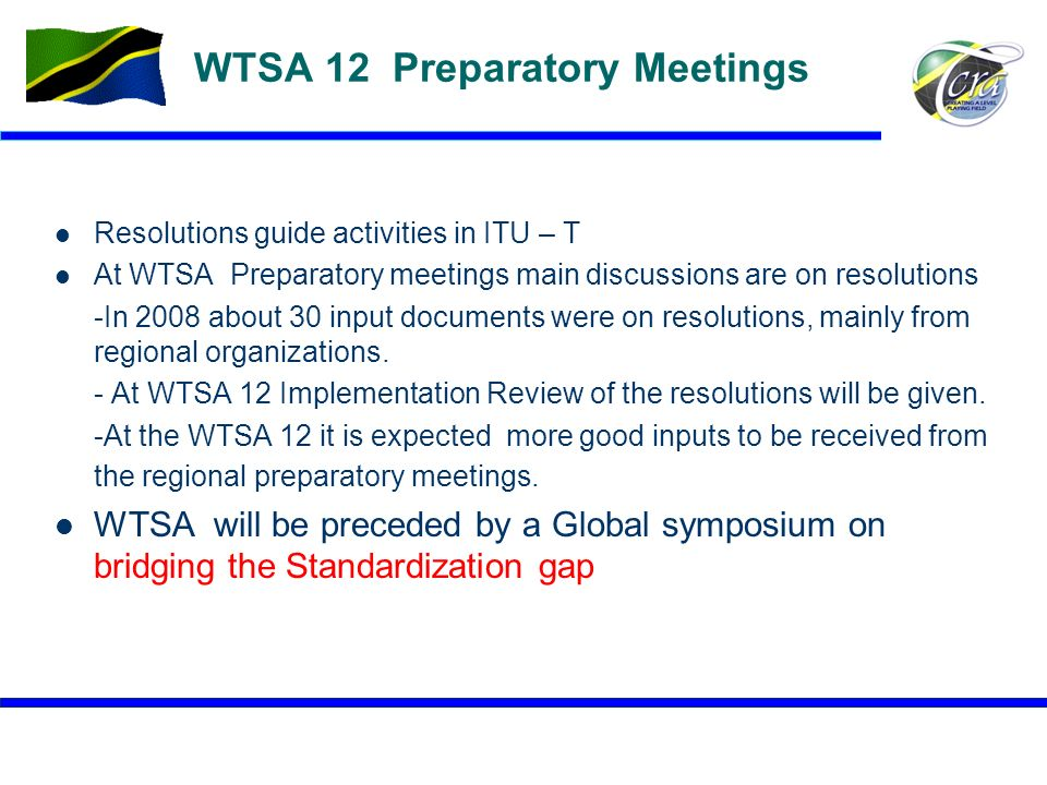 WTSA 12 Preparatory Meetings