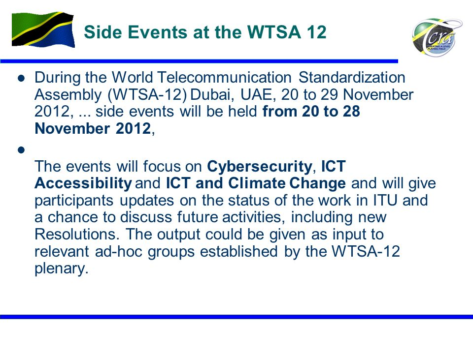 Side Events at the WTSA 12