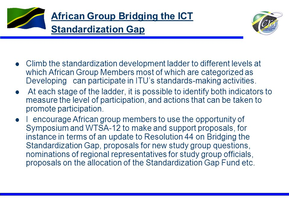 African Group Bridging the ICT Standardization Gap