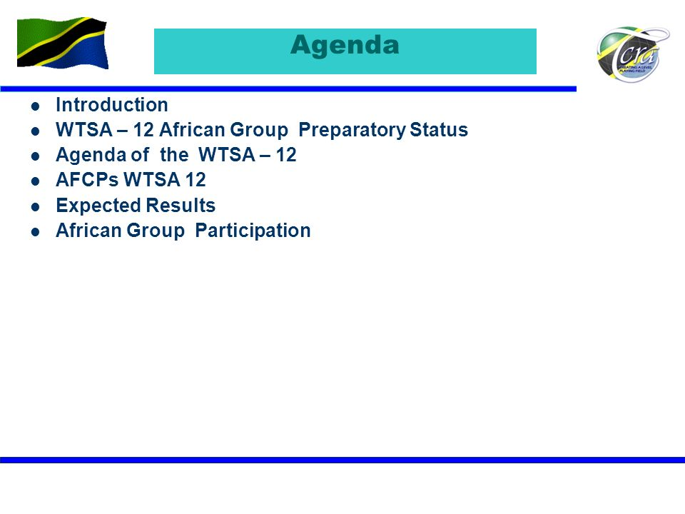 Agenda Introduction WTSA – 12 African Group Preparatory Status