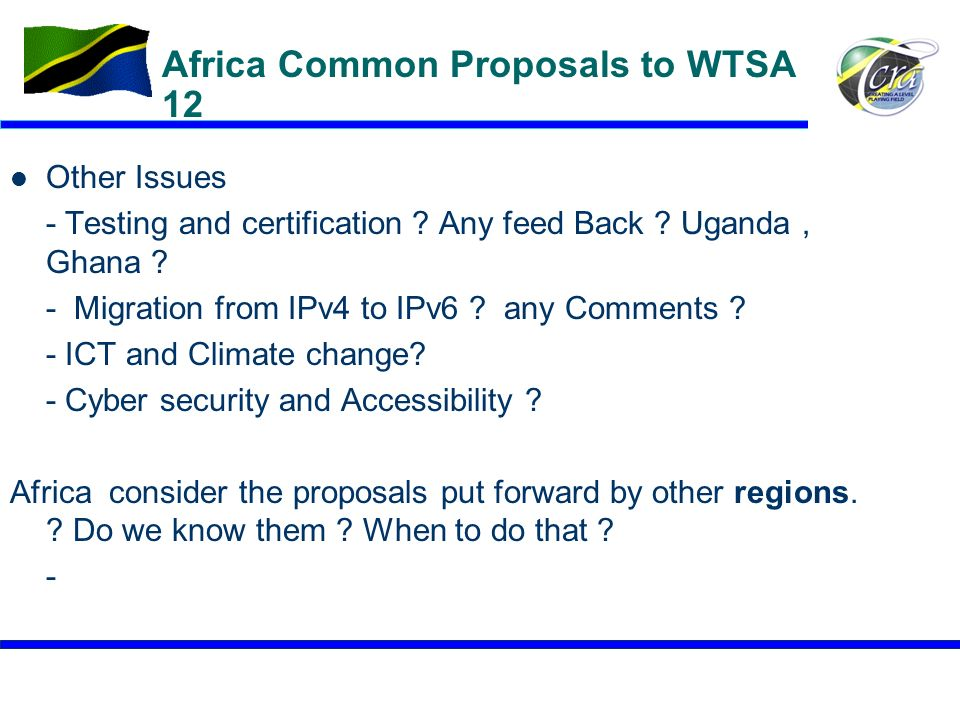 Africa Common Proposals to WTSA 12