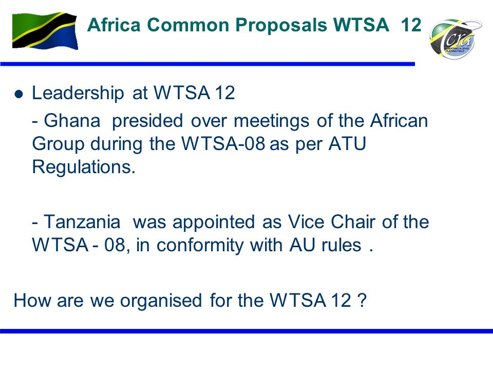 Africa Common Proposals WTSA 12