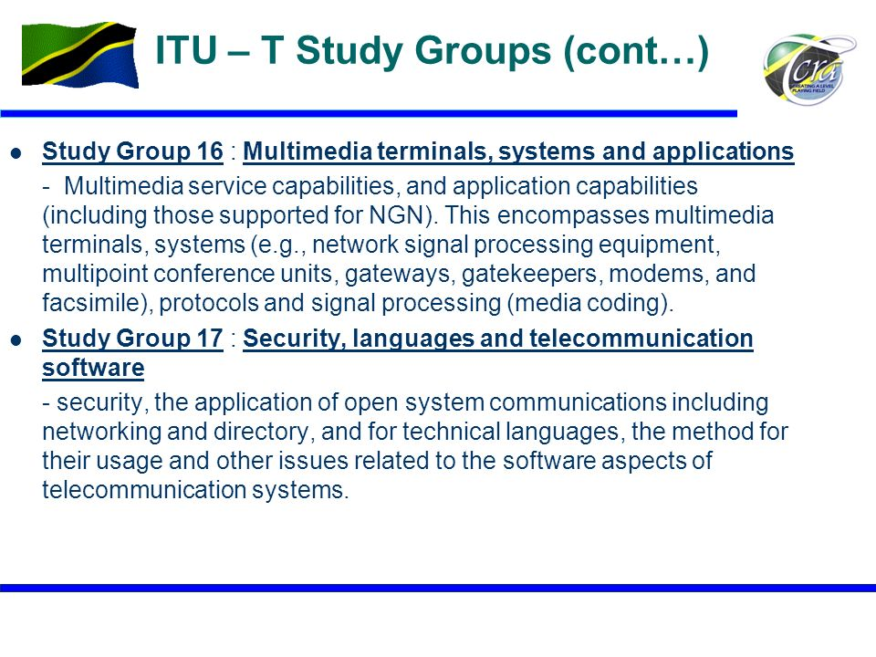 ITU – T Study Groups (cont…)
