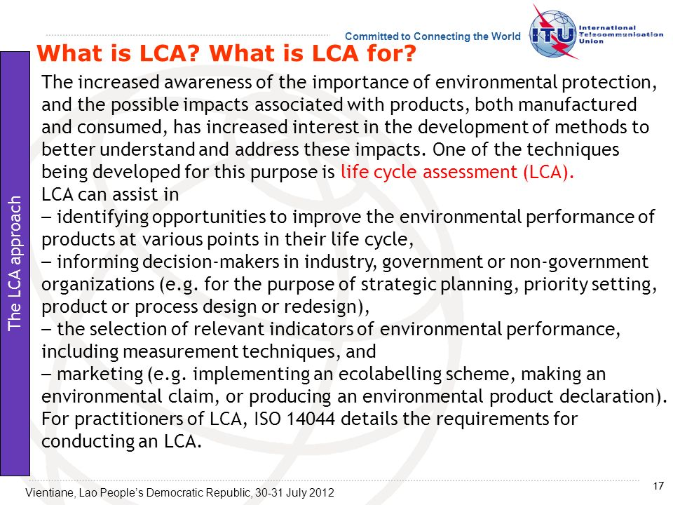 What is LCA What is LCA for