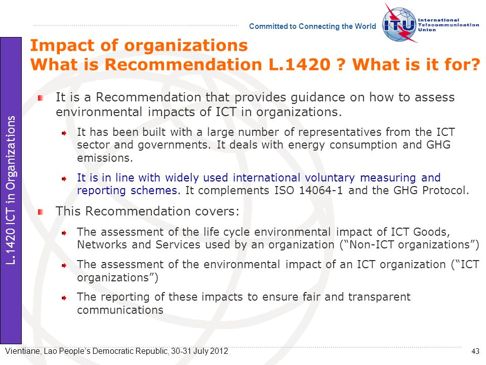 Impact of organizations What is Recommendation L.1420 What is it for