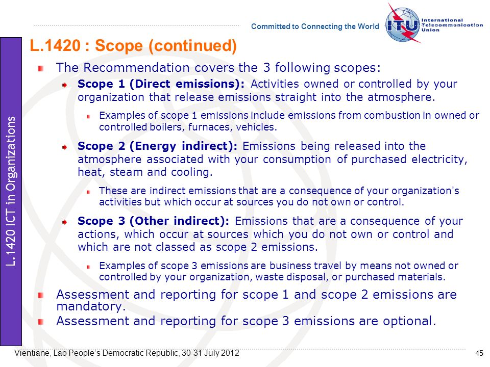L.1420 : Scope (continued) The Recommendation covers the 3 following scopes: