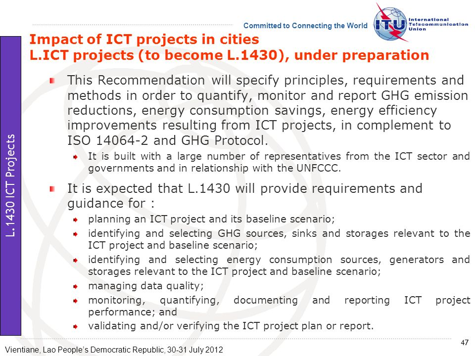 Impact of ICT projects in cities L. ICT projects (to become L
