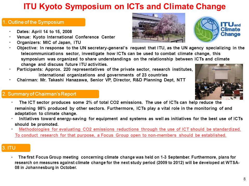 ITU Kyoto Symposium on ICTs and Climate Change