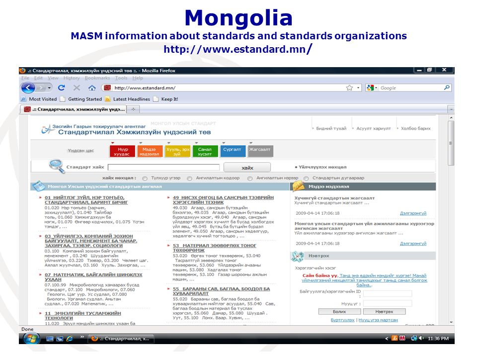 Mongolia MASM information about standards and standards organizations