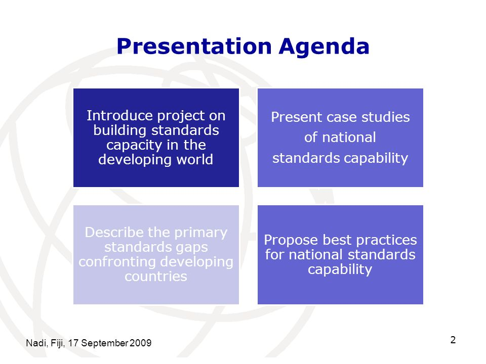 Presentation Agenda Introduce project on building standards capacity in the developing world. Present case studies.