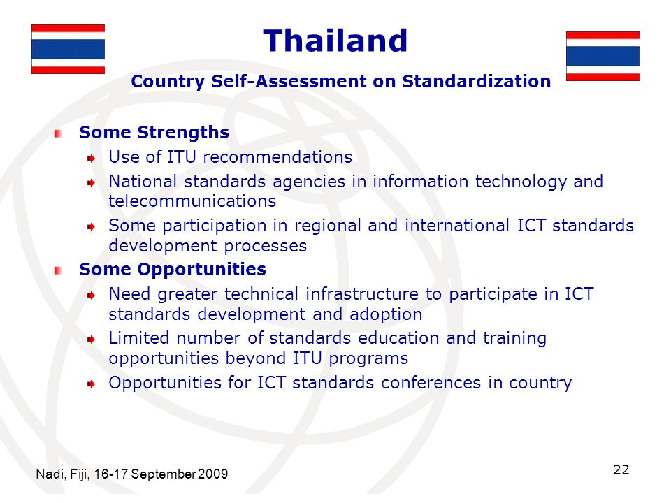 Thailand Country Self-Assessment on Standardization