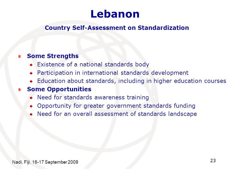 Lebanon Country Self-Assessment on Standardization