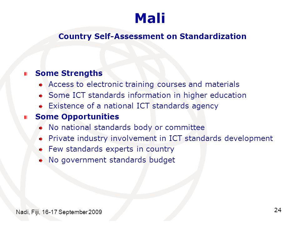 Mali Country Self-Assessment on Standardization