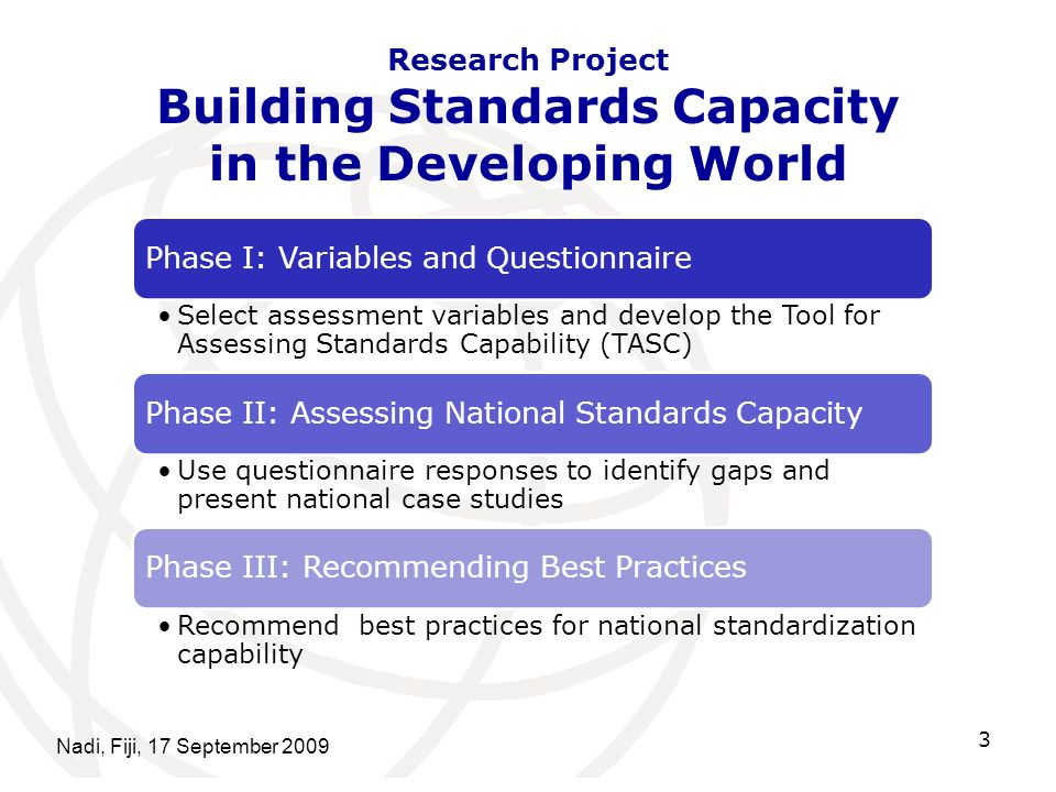 Research Project Building Standards Capacity in the Developing World